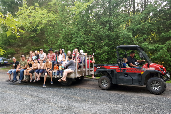 Enjoy a wagon ride at Haid's Hideaway!